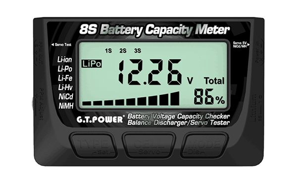 GT Power 8S Battery Capacity Meter ( Battery Voltage Capacity Checker/ Balance Discharger
