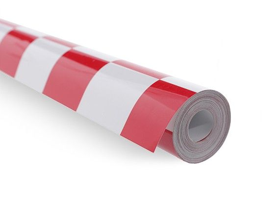 Covering Film Grill-Work Red/White (sold per mtr) 1401