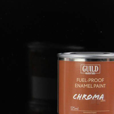 Guild Materials Chroma Black Gloss Enamel Fuel-Proof Paint (125ml Tin)  GLDCHR6203