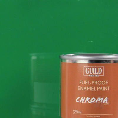 Guild Materials Chroma Green Gloss Enamel Fuel-Proof Paint  (125ml Tin) GLDCHR6217