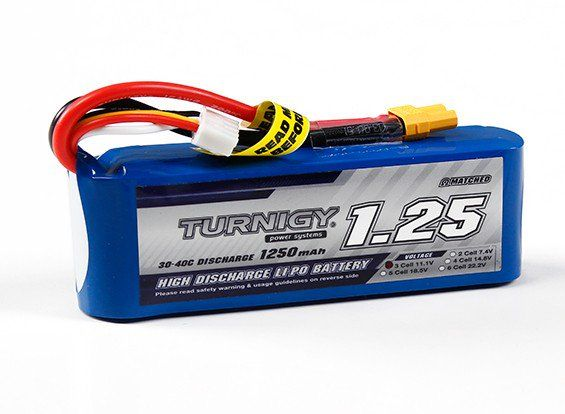 Turnigy 1250mAh 3S 30C Lipo Battery  Pack (Long)