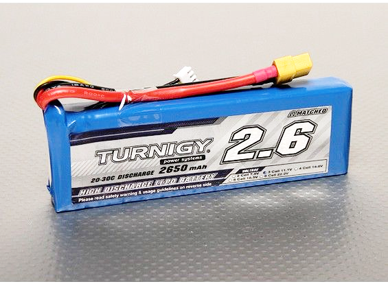 Turnigy 2650mAh 3S 20C Lipo battery Pack - xt60