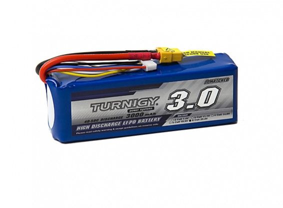 Turnigy 3000mAh 6S 40C Lipo battery Pack w/XT-60