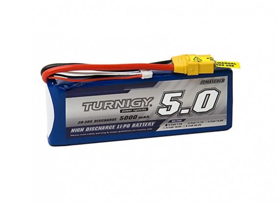 Turnigy 5000mAh 2S 20C Lipo battery Pack w/XT-90