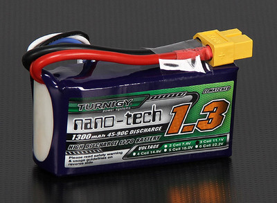 Turnigy nano-tech 1300mAh 3S 45C~90C Lipo battery  Pack