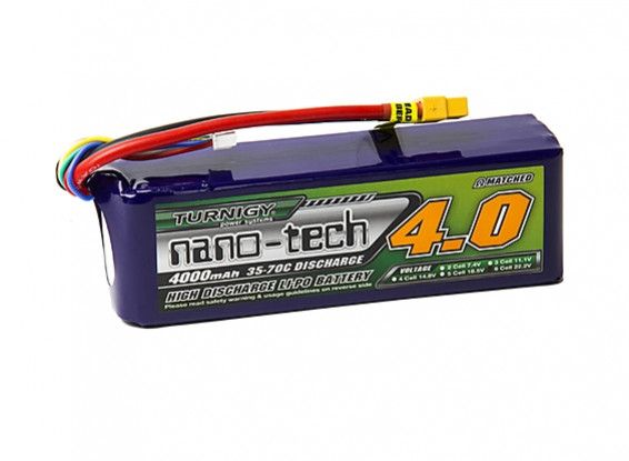 Turnigy nano-tech 4000mAh 6S 35~70C Lipo Battery Pack with XT-60