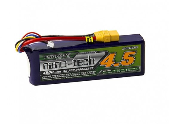Turnigy nano-tech 4500mah 4S 35~70C Lipo battery Pack w/XT-90