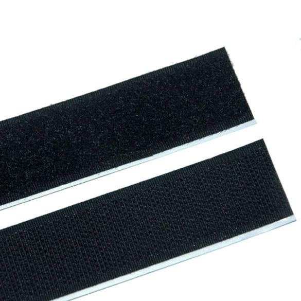 Velcro self Adhesive Backed  ( hooks & loops ) 500 mm L x 25mm w Black edged